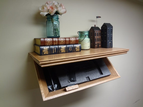 """RFID Electronic Lock  23"""" Concealment Shelf Oak with Cherry Stain"""