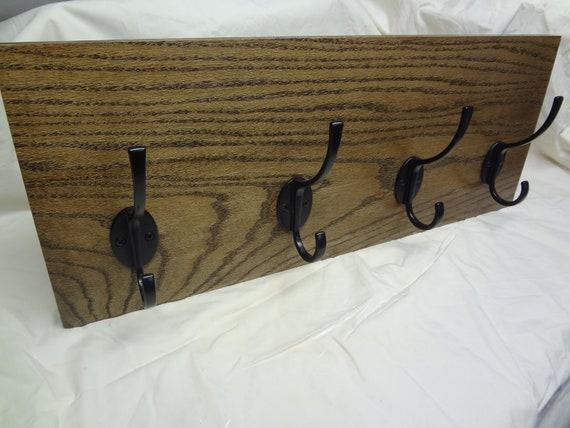 Dark Walnut Color 4 Hook Coat Rack with RFID lock