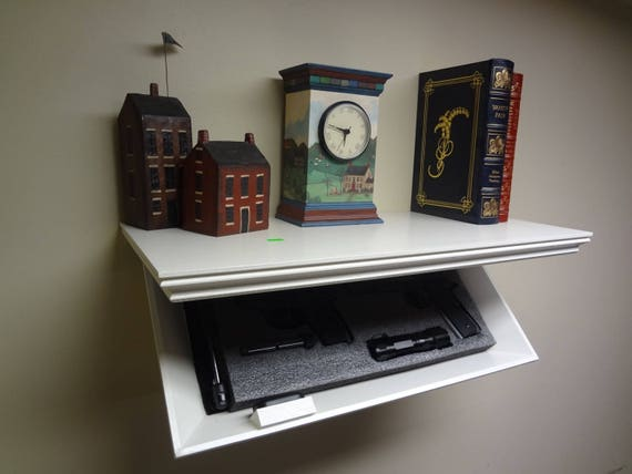 "23"" Concealment Shelf with Magnetic Lock; Oak wood; Painted White"