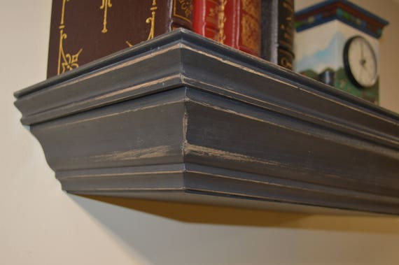 "23"" Concealment Shelf with Magnetic Lock Charcoal Shabby Chic finish"