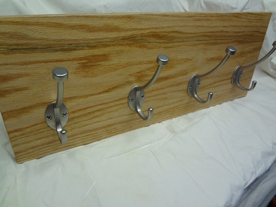 Natural Oak Oil Stain Color 4 Hook Coat Rack with RFID lock