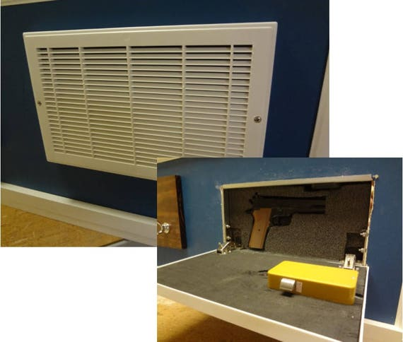 Hidden Compartment for Gun Storage with RFID lock in a fake Wall Vent