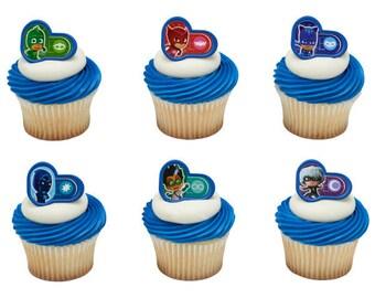 PJ Masks Cupcake Rings 24 Party Favor Cake Topper 2 Dozen