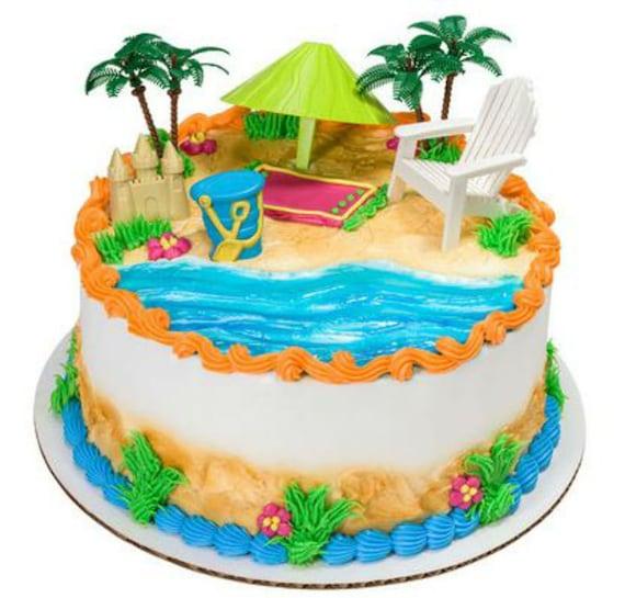 Beach Chair Umbrella Tropical Hawaii Cake Decoration Decoset Etsy