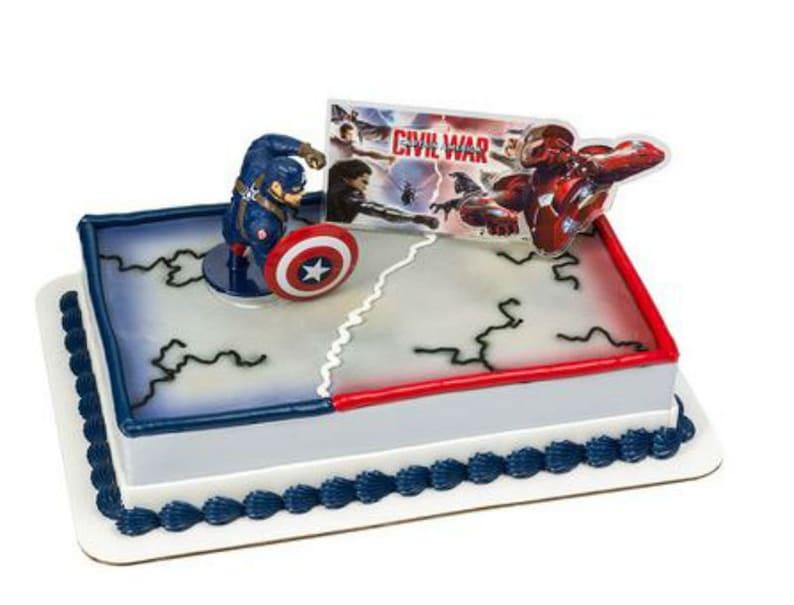 Captain America Civil War Cake Decoration Decoset Cake Topper Etsy