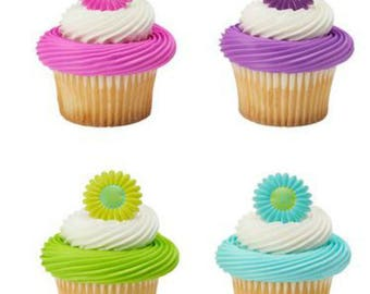 Flower Bright Blossom Gerber Daisy cupcake rings (24) party favor cake topper