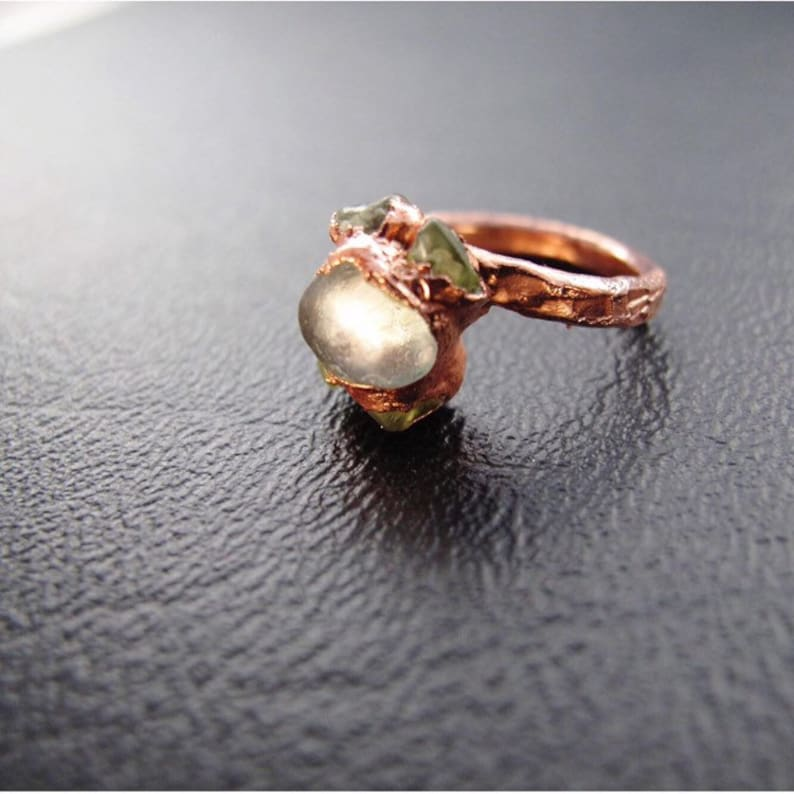 Moonstone Peridot Electroplated Copper Ring