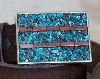 Turquoise and Jasper Natural Stone Belt Buckle