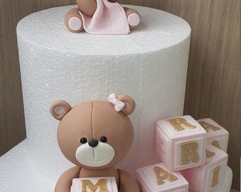 Teddy bear girl baby fondant gum paste cake topper