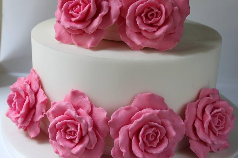Fondant Large Rose Sugar Flower Wedding Cake Birthday