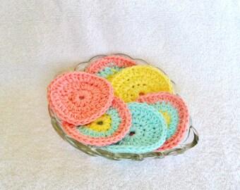 Peach Aqua Yellow Cotton Face Scrubbies Eco Friendly Face Pads Reusable Face Scrubbies
