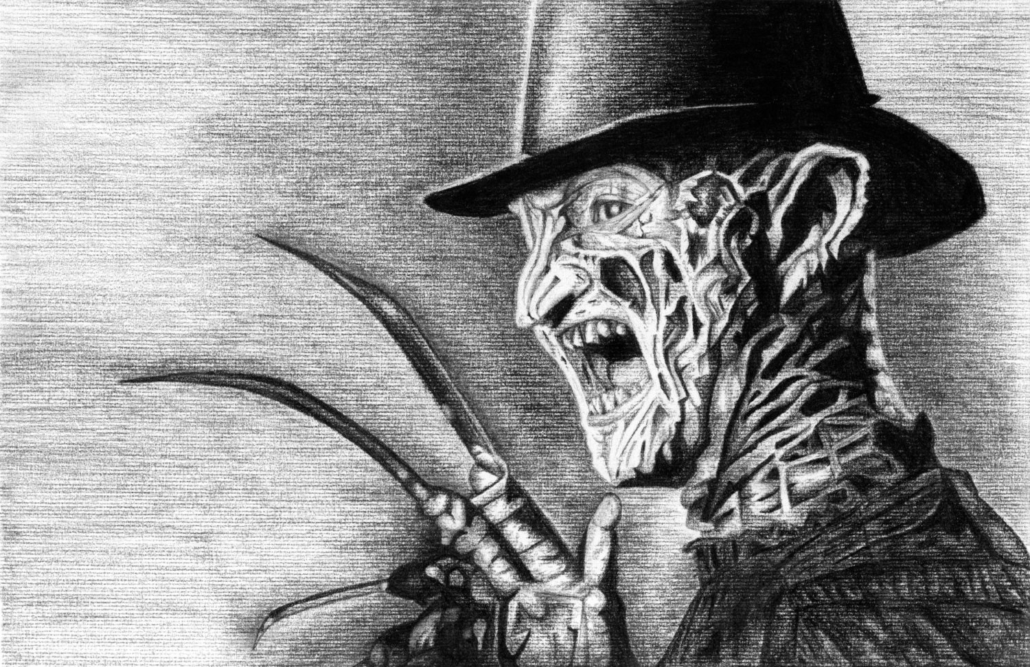 freddy krueger a nightmare on elm charcoal drawing