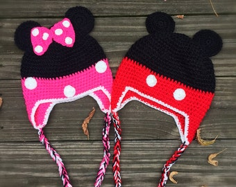 READY to Ship!Crochet Minnie Mouse Hat/Crochet Mickey Mouse Hat,baby hat toddler hat,children hat,crochet hat,mickey hat, minnie hat