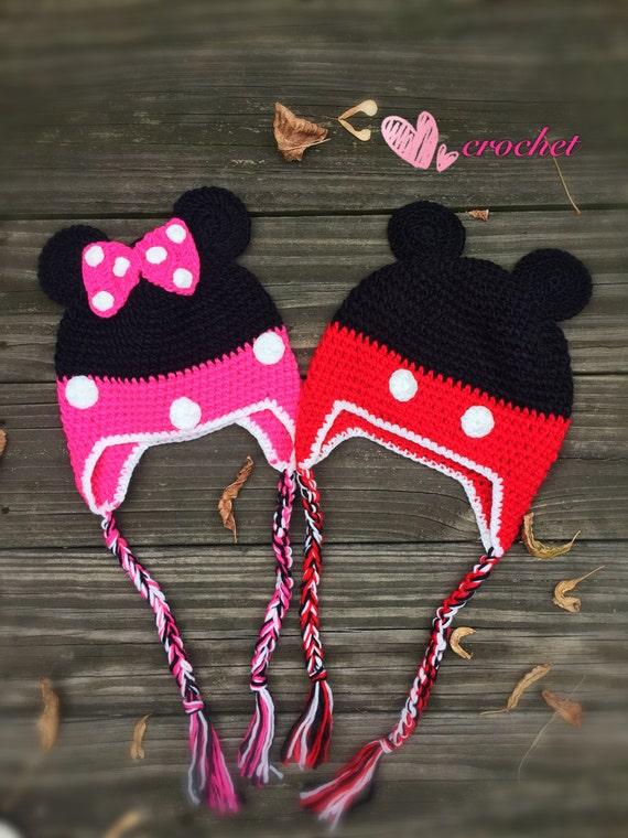 Ready To Shipcrochet Minnie Mouse Hatcrochet Mickey Mouse Etsy