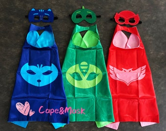 Ready to Ship!PJ masks inspired cape and mask set, PJ masks inspired birthday party favors,Gekko,Catboy,Owlette Costume,superhero capes Gift