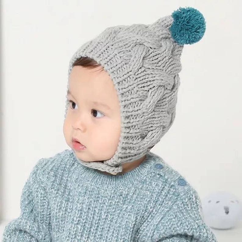 4d3152cad ReadyToShip!Knitted Baby Hat with pom pom,Baby Pom Hat,Baby Beanie,Newborn  Hat,Baby Boy Beanie,Baby girl Hat,gray baby Hat,pink baby hat