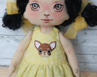 """Rag doll, artist doll, doll """"Mika"""", series """"Nursery""""  11 inch high"""