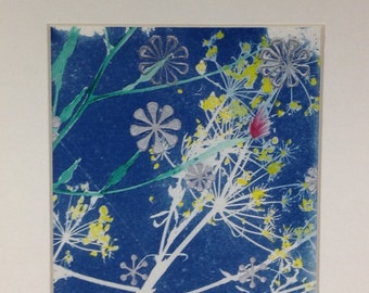Spores, Botanical Cyanotype with Letterpress and Hand Colouring
