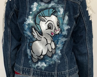 denim jacket Pegasus with angel wings inspired by Disney.