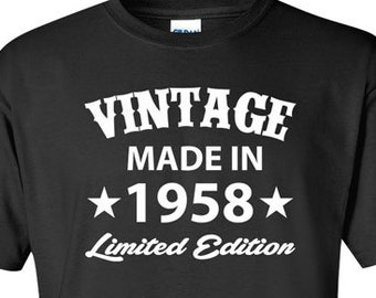 Born In 1958 Any Year Gift For Man 60th Birthday T Shirt Present 60 Years Old Gifts Mens Tshirt Ladies Tee