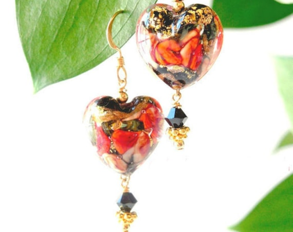 Valentine's Day Gift ~ Red heart Earrings