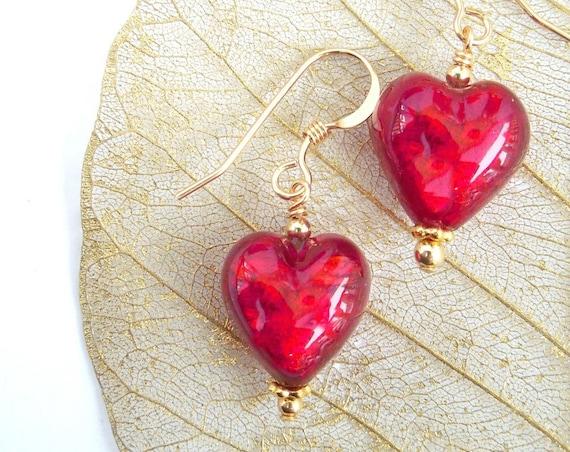 Red Heart Earrings ~ Murano Glass Jewellery