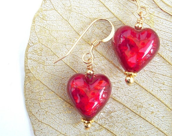 Red Heart Earrings ~ Mother's Day Gifts