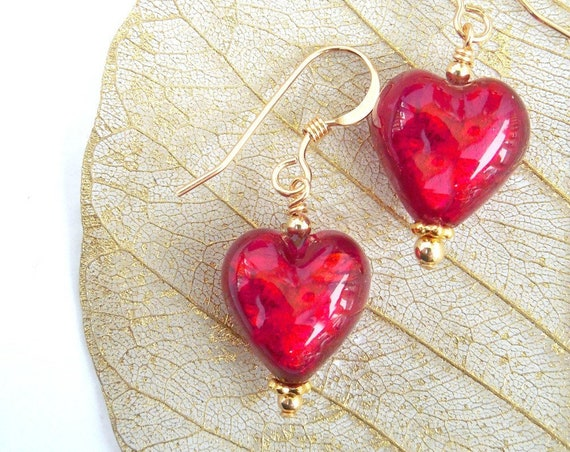 Mother's Day Gift ~ Radiant Red Heart Earrings