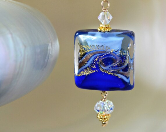 Cobalt Blue Square Necklace