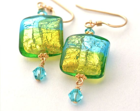 Lime Green and Turquoise Blue Square Earrings