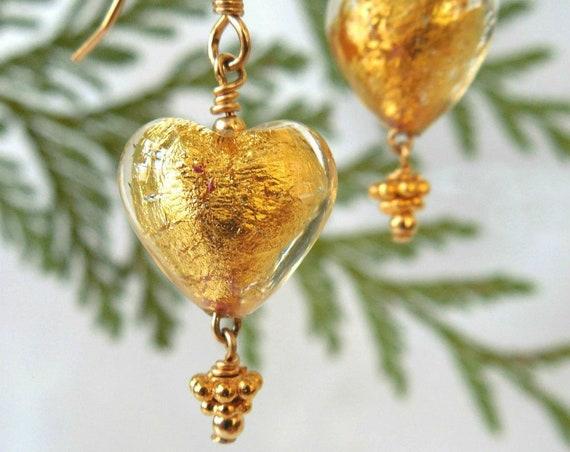 Gold Heart Murano Glass Earrings