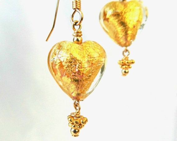 Gold Heart Accessories ~ Murano Earrings