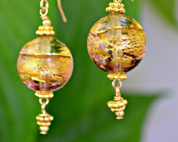 Venetian Gold Glass Earrings