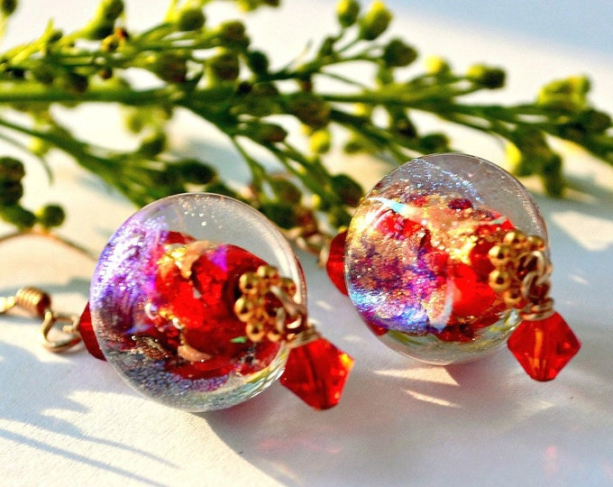 Featured listing image: Christmas Gift Ideas | Red Dichroic Murano Glass Earrings | Red and Gold Holiday Earrings
