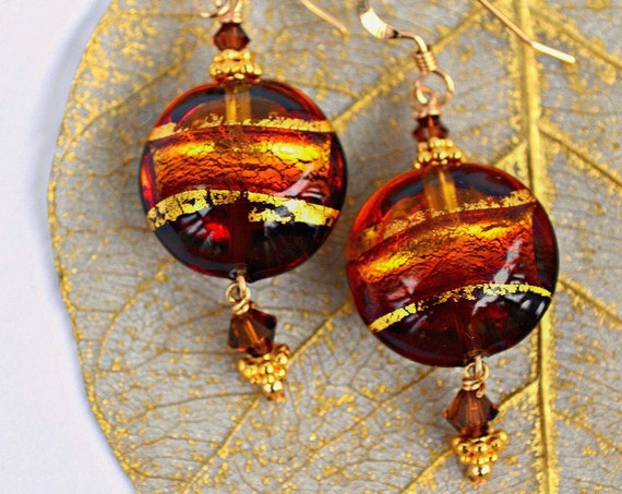 Brown Gold Earrings ~ Murano Jewelry