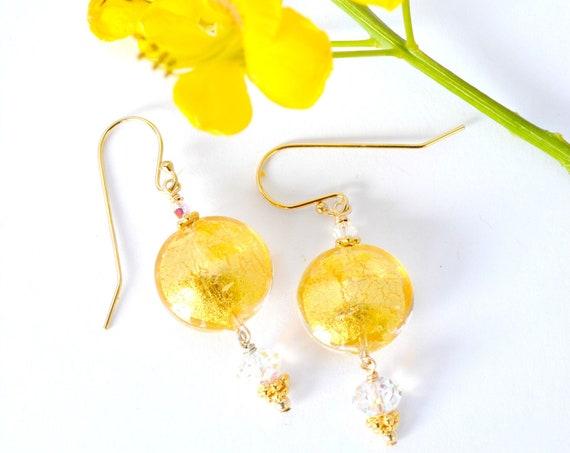 Murano Gold Glass Earrings ~ 24k Yellow Gold Encased