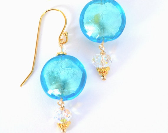 Turquoise Blue Murano Glass Earrings ~ 24k Gold Foil Encased
