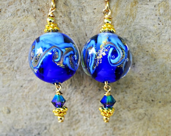 Cobalt Blue Gold Earrings ~ Murano Glass Jewelry