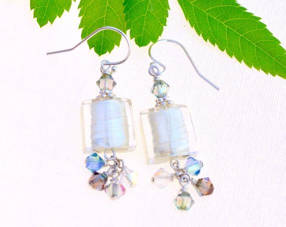 White Glass Square Earrings