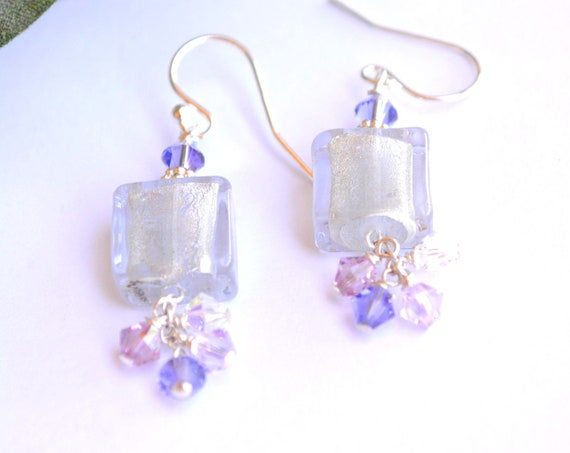 Lilac Square Glass Earrings