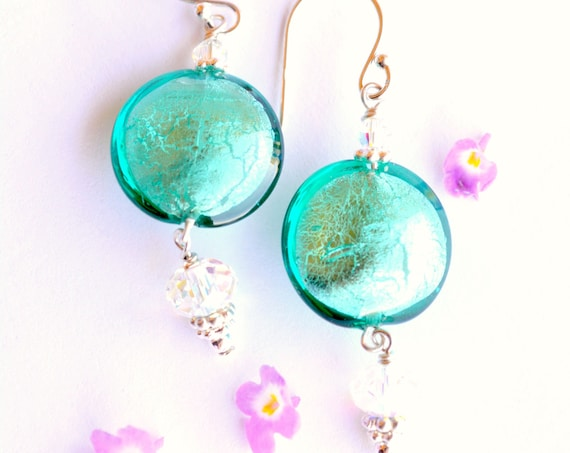 Emerald Blue Dangle Earrings