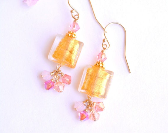 Gold Glass Square Earrings