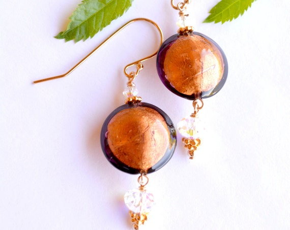 Copper Glass Earrings