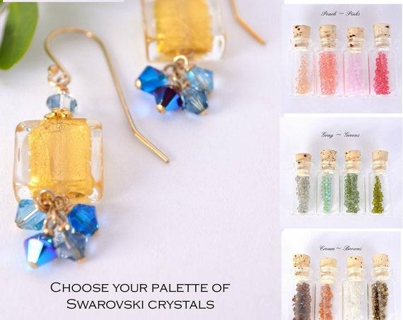 Gold Square Earrings ~ Color Palatte Option