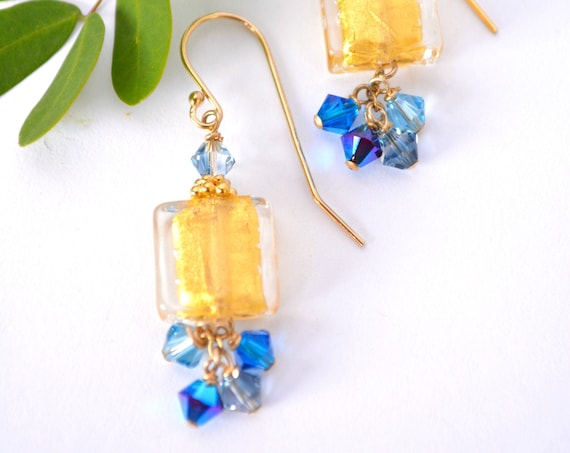 Murano Glass Earrings ~ Blue Gold Squares