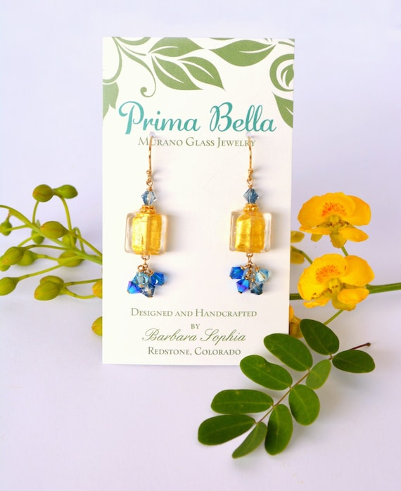 Mother's Day Jewelry Gift ~ Gold Blue Earrings