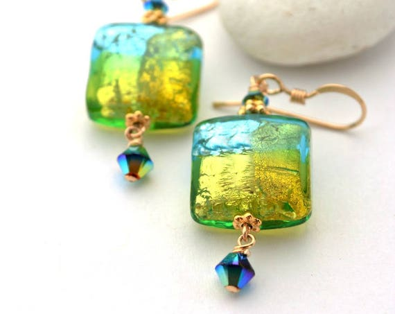 Murano Glass Earrings | Italian Glass Jewelry |  Murano Glass Beads | Bijoux En Verre | 24k Gold Encased | Iridescent Murano Glass Earrings