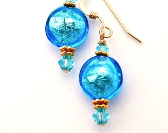Petite Blue Murano Glass Earrings