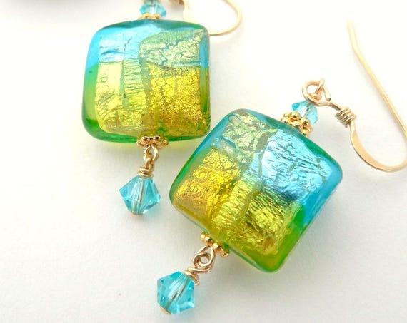 Aqua Lime Murano Earrings