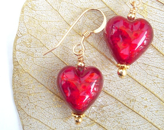 Murano Glass Earrings ~ Red Heart Jewelry Gift